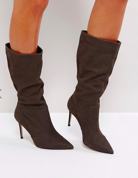Carvela Special Gray Suede Slouch Heeled Ankle Boot
