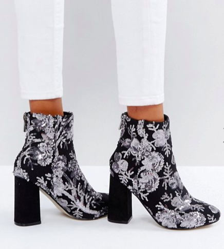 New Look Floral Sequin Embellished Heeled Ankle Boot