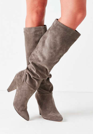 Tess Faux Suede Scrunch Knee-High Boot