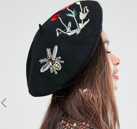 My Accessories Beret with Embroidered Patches