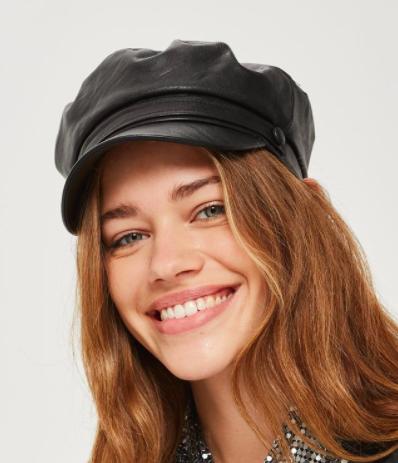 Topshop PU Baker Boy Hat
