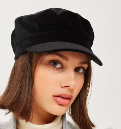 Topshop Velvet Baker Boy Hat