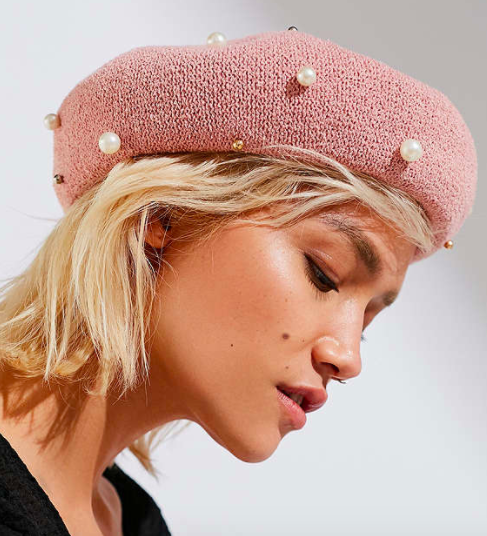 UO Pearl-Embellished Nubby Beret