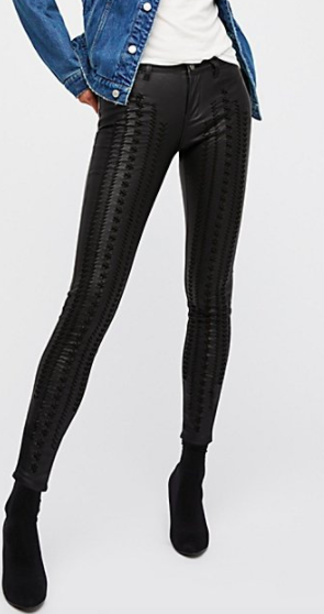 Vegan Leather Lattice Skinny Pants