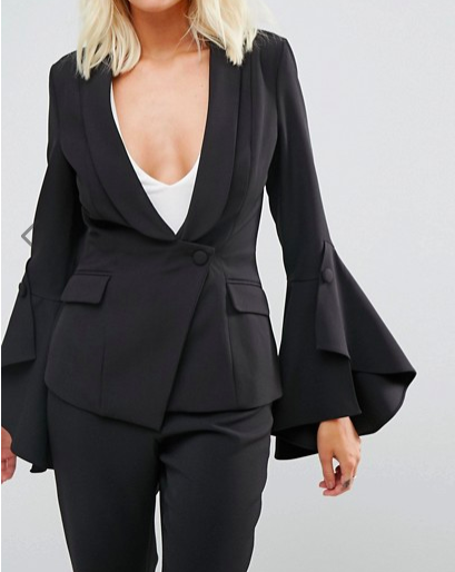 Lavish Alice Frill Sleeve Fitted Blazer & Pants Co-Ord