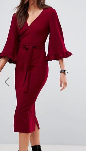 ASOS Kimono Frill Sleeve Midi Dress