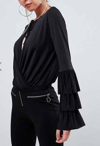 ASOS Wrap Front Top with Frill Sleeves and Tie Neck