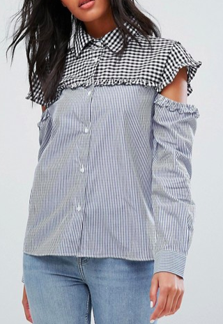 Walter Baker Marvin Cut Out Sleeve Gingham Stripe Shirt