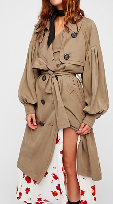 FP Balloon Sleeve Trench Coat