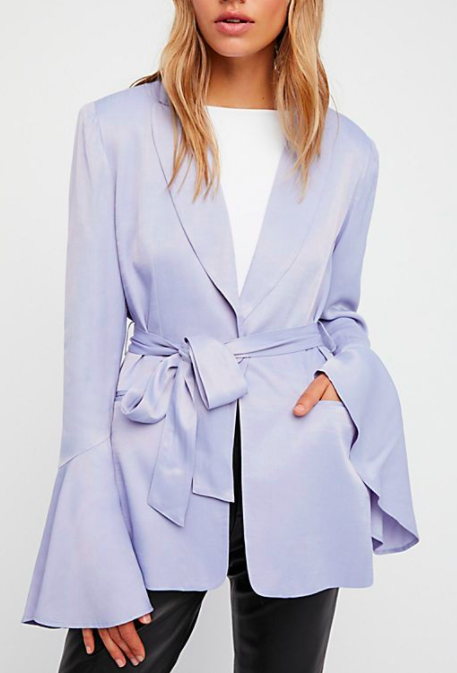 FP Flared Sleeve Satin Blazer