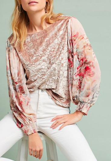 MEADOW RUE Floral-Sleeve Velvet Top