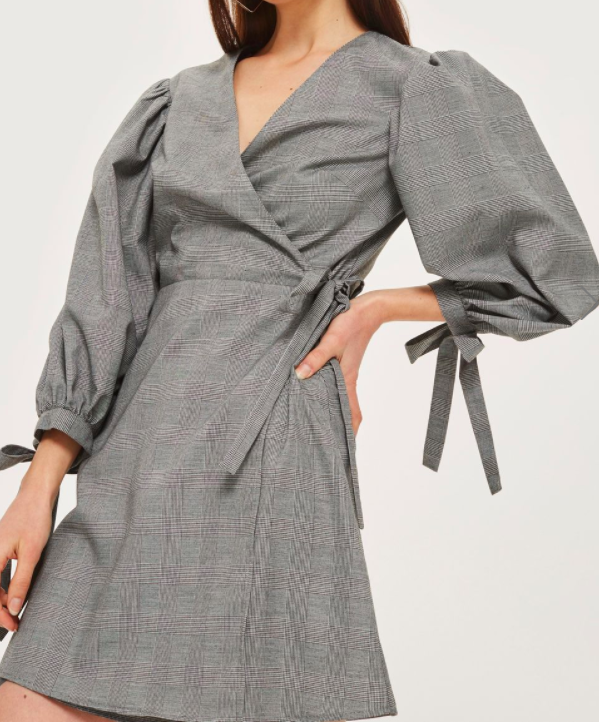 TOPSHOP Checked Ovoid Sleeve Wrap Dress