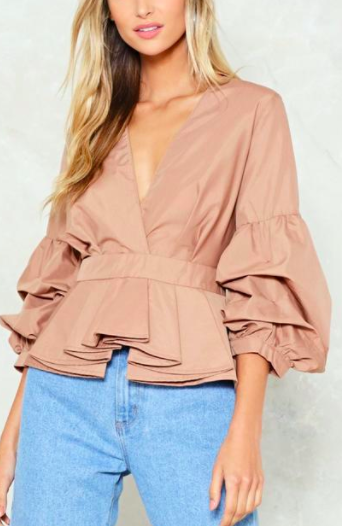 Nasty Gal Sleeve It to Fate Peplum Top