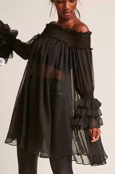 ETA Sheer Ruffled Off-the-Shoulder Tunic