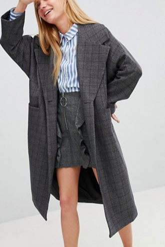 Monki Check Print Tailored Coat