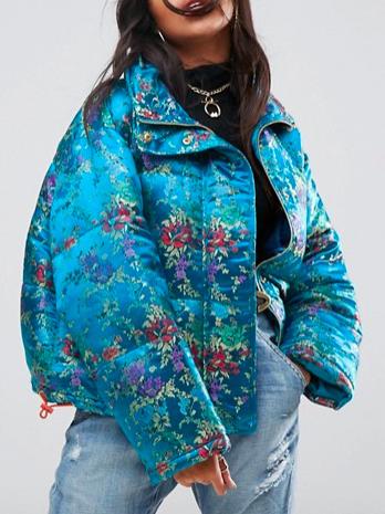 ASOS Puffer Jacket in Floral Jacquard