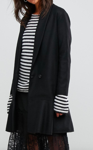 AllSaints Grace Coat with Asymmetric Skirt