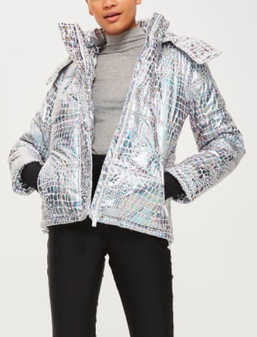 Metallic Ski Puffer Jacket by Topshop SNO
