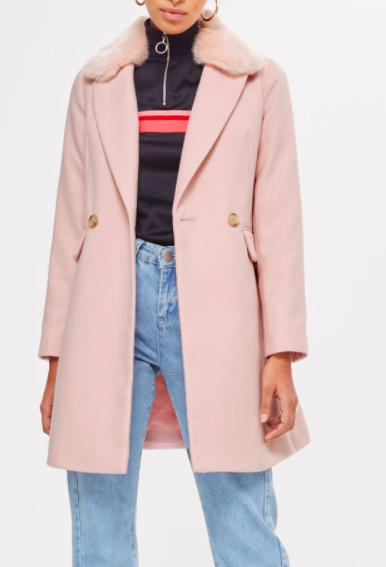 TOPSHOP Faux Fur Collar Tuck Waist Coat
