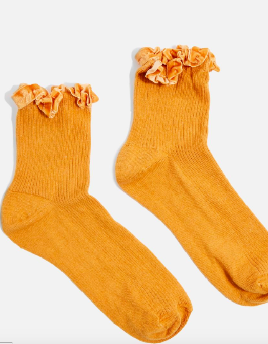 Topshop Velvet Trim Ankle Socks