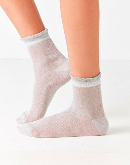 Out From Under Ruffle Glitter Crew Sock