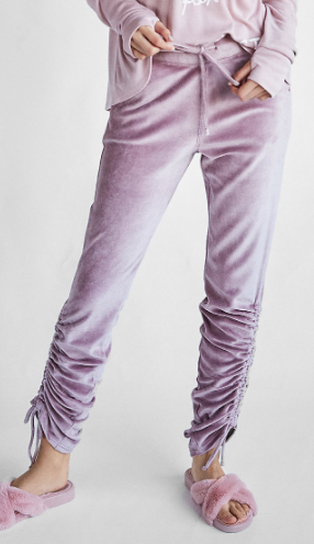 Express One Eleven Velour Ruched Ankle Jogger Pant