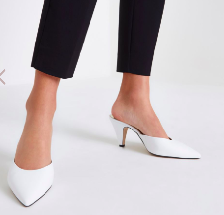 River Island White pointed cone heel mules