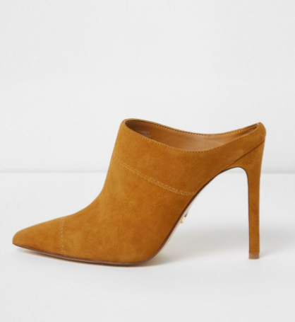 River Island Tan pointed toe stiletto suede mules