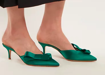 GIANVITO ROSSI  Kyoto bow-embellished satin mules