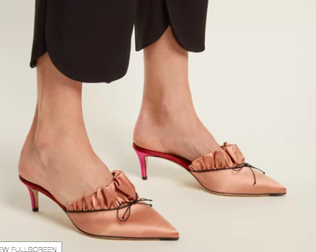 MARCO DE VINCENZO  Point-toe bow-embellished satin mules