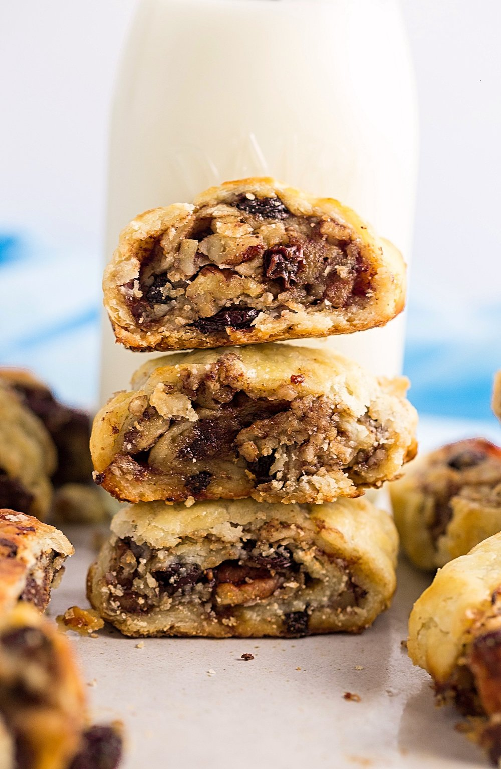 Flaky Rugelach with Two Fillings: buttery, flaky cream cheese rugelach with your choice of a jam, raisin, nut filling or a rich chocolate filling. | TrufflesandTrends.com