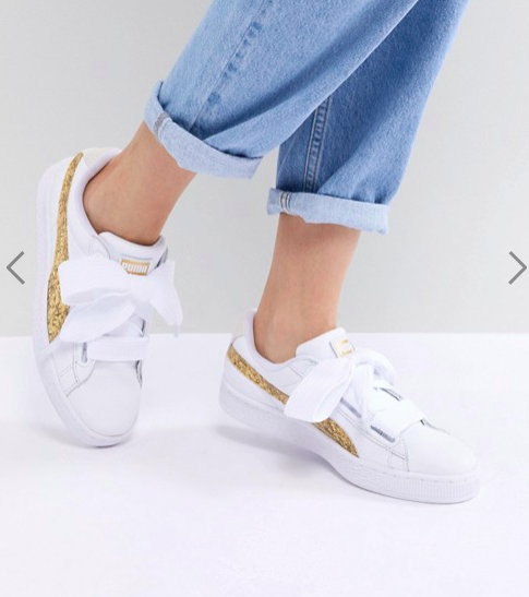 Puma Basket Heart Sneakers In White With Gold Glitter