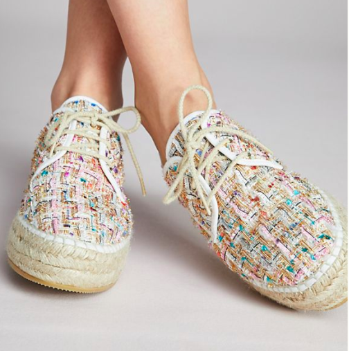 Anthropologie Lace-Up Tweed Espadrille Sneakers