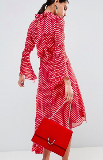 Boohoo High Neck Polka Dot Asymmetric Hem Dress