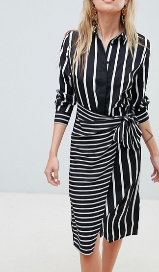 Warehouse Mixed Stripe Wrap Front Shirt Dress