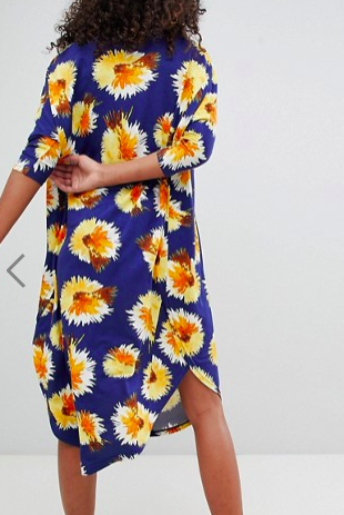 Monki Flower Feather Print Midi Dress
