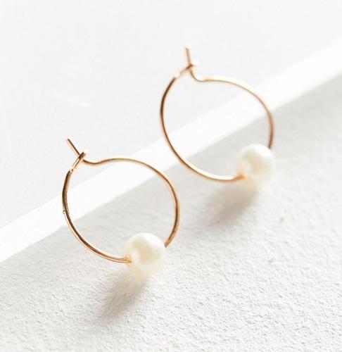 UO Pearl Stone Hoop Earring