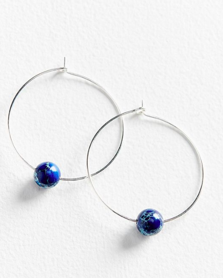 UO Genuine Stone Large Hoop Earring