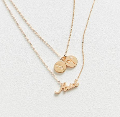 UO Zodiac Layering Charm Necklace Set
