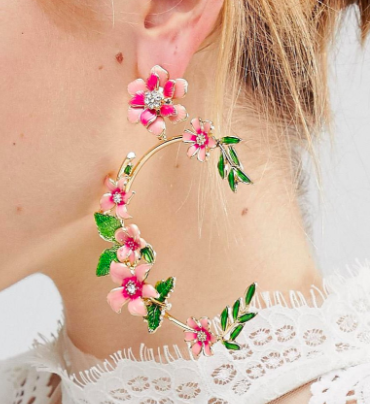 ASOS DESIGN statement floral garden drop earrings