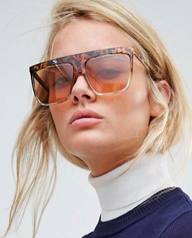ASOS Flat Brow Square Sunglasses With Light Brown Lens