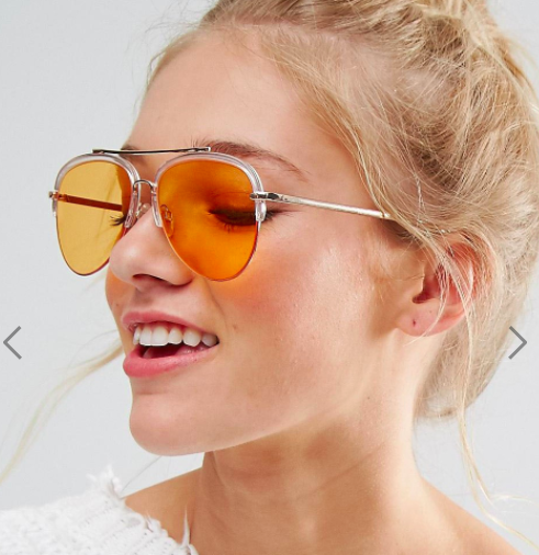 South Beach Half Frame Perspex Sunglasses With Peach Tinted Lens