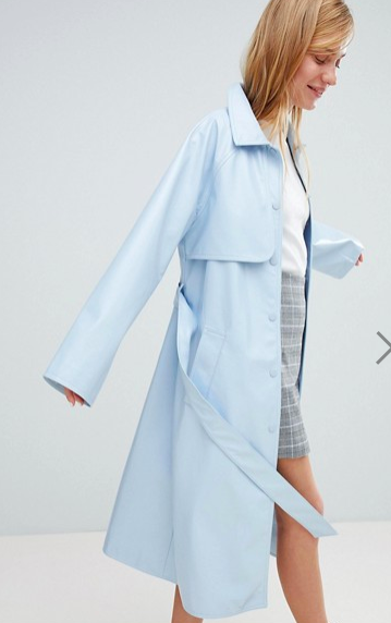 Monki Vinyl Trench Coat