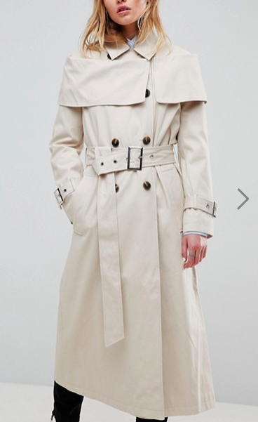 ASOS Off Shoulder Trench