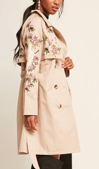 Forever 21 Embroidered Trench Coat