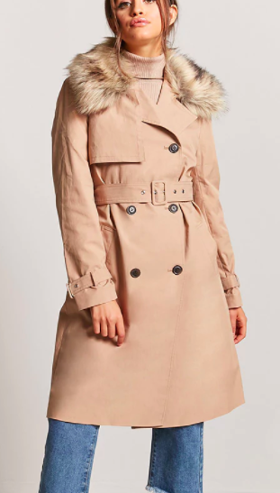 Forever 21 Faux Fur-Collar Trench Coat