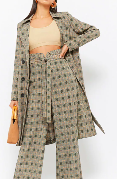 Forever 21 Glen Plaid Trench Coat