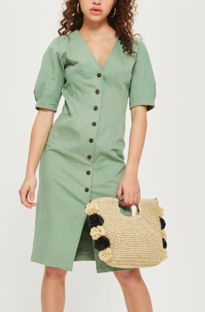 Topshop Washed Twill Seam Midi Shirt Dress