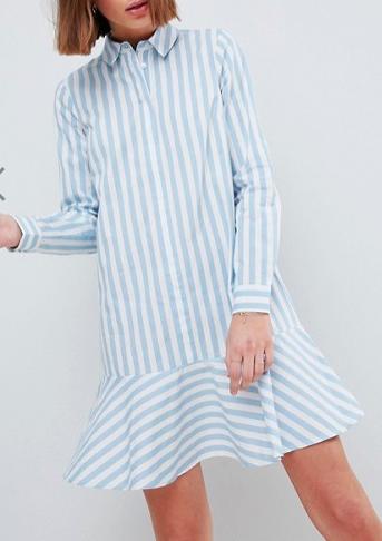 ASOS Cotton Shirt Dress with Pephem In Stripe