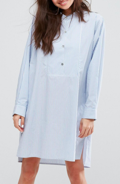 Paul & Joe Sister Button Front Pinstripe Shirt Dress